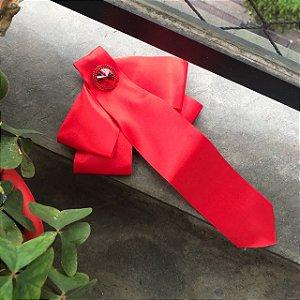 Broche Gravatinha de fita cetim vermelha
