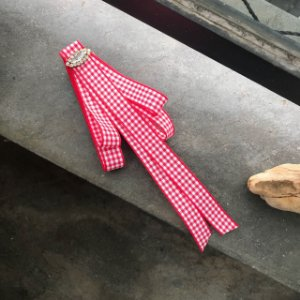 Broche Gravatinha com fita xadrez vermelha