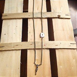 Colar Masculino Escapulário com Cristo Prateado