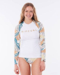 Camiseta de LYCRA Rip Curl TROPIC SHARCK WHITE - Feminino