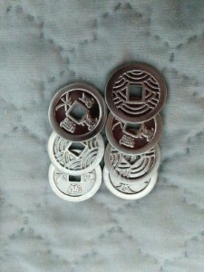 Moedas Kanei Tsuho - Banho prata