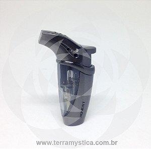 ISQUEIRO MAÇARICO HONEST - REF. 262 - 1 CHAMA :: Inox com Fumê