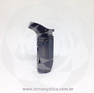 ISQUEIRO MAÇARICO HONEST - REF.422 - 2 CHAMAS c/ Furadores I Inox Escovado Grafite