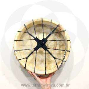 TAMBOR XAMANICO - 30 cm - Preto - Com baqueta