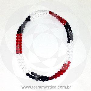 GUIA DE CRISTAL - Tricolor - Branco/Preto/Vermelho