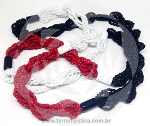 GUIA IMPERIAL - BRAJA PRETO BRANCO VERMELHO - Trançado com firma branca e preta