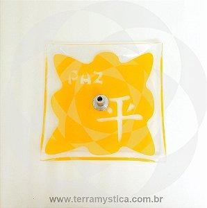 INCENSÁRIO DE VIDRO ORIENTAL - Amarelo - Paz