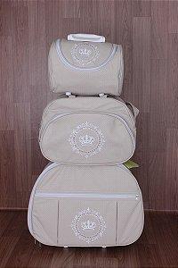 Kit de Bolsas Maternidade Bege Coroa Real (com rodinha)