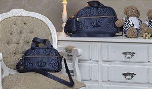 Kit de Bolsas Coroa Azul Marinho com Duas peças