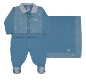 Saída de Maternidade Crown Azul