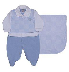 Saída de Maternidade Xadrez Azul Céu