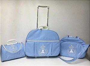 Kit de Bolsas Maternidade Azul Coroa Real (com rodinha)