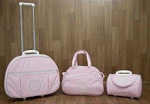 Kit de Bolsas Maternidade Rosa Coroa Real (com rodinha)
