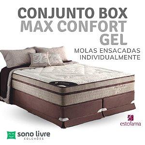 Conjunto Box Queen Molejo Max Confort Gel 158 x 198 x 038
