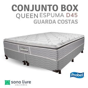 CONJUNTO BOX QUEEN ESPUMA D45 GUARDA COSTAS PROBEL 158 X 198 X 30