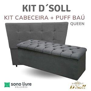 kit Cabeceira + Puff Baú Queen D´Soll 158