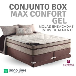 Conjunto Box Casal Molejo Max Confort Gel 138 x 188 x 38