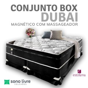 CONJUNTO BOX QUEEN DUBAI COM MASSAGEADOR 158 x 198 x 38