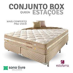 Conjunto Box Queen Estações Estofama 158 x 198
