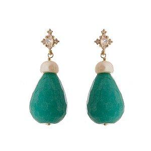 Brinco Pedra Jade Verde e Pérola de Água Doce