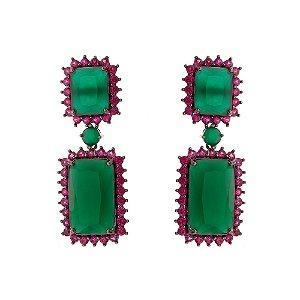 Brinco de Luxo Verde e Vermelho Ouro Negro
