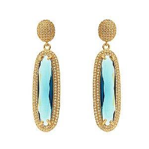 Brinco festa luxo com zircônia turmalina azul
