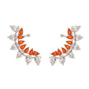 Binco Ear climber com zircônias cristal e laranja topázio