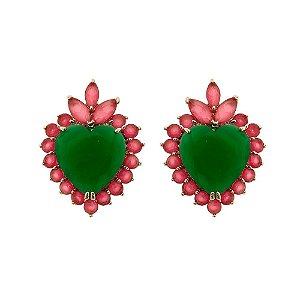 Brinco coração luxo de zircônia esmeralda leitosa e Rubelita