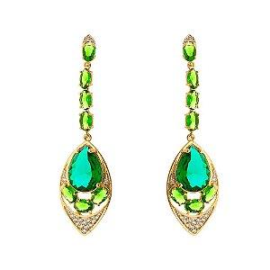 Brinco luxo pedra cristal esmeralda, com micro zircônias cristais.