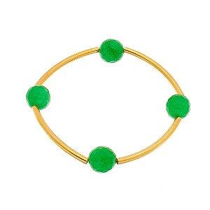 Bracelete com pedra natural jade esmeralda