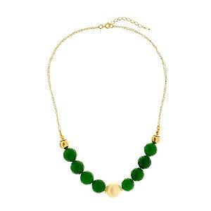 Colar de pedra natural jade esmeralda