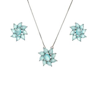 Conjunto flor com zircônia azul tiffany