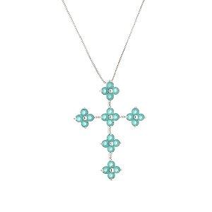 Colar cruz com zircônia azul tiffany