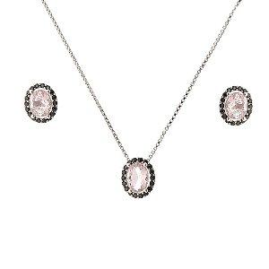 Conjunto oval de zircônia turmalina rosa.