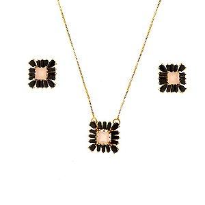 Conjunto quadrado com zircônia no quartzo rosa  e negra!