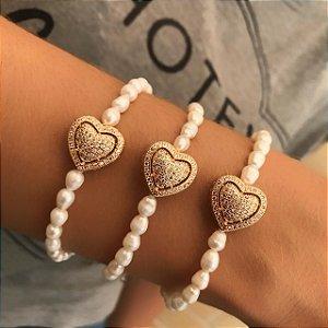 Pulseira Coração Pérolas Channel