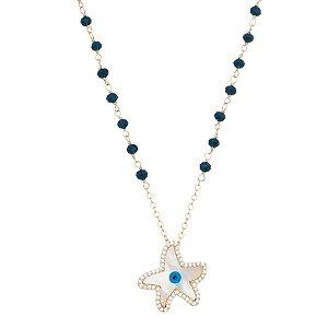 Colar Cristal com Pingente Estrela de Madrepérola