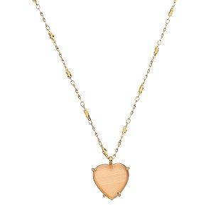 Colar Dourado Pingente Coração