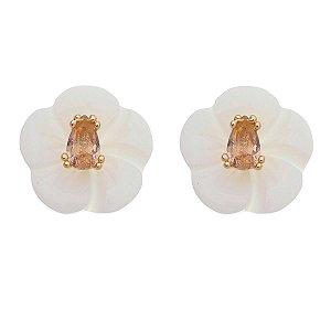 Brinco Gota Cristal com Flor Madrepérola