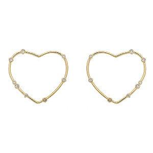 Coração Dourado com Zircônia