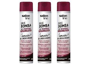 Kit 3 unidades Shampoo S.O.S Bomba Liberado Salon Line 300ml