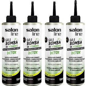 Combo 4 tonicos Bomba de Vitaminas Detox Salon Line 100ml