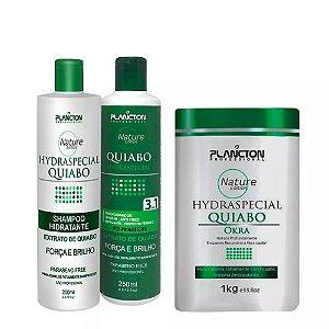 Kit Quiabo Plancton Shampoo, Condicionador e Máscara 1kg