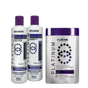 Kit BTX Platinum Plancton Shampoo, Condicionador e btx 1kg