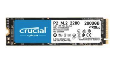 SSD CRUCIAL P2, 2000GB, M.2 NVME, LEITURAS: 2400MB/S E GRAVAÇÕES: 1800MB/S - PCIE M.2 SSD - CT2000P2SSD8