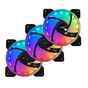 KIT 3X COOLER FAN RGB 120MM C/ CONTROLE REMOTO MAXRACER - FAN-KIT3-RGB