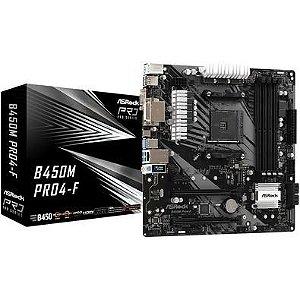 PLACA MÃE ASROCK, AMD AM4, MICRO ATX, DDR4, POLYCHROME SYNC RGB - B450M PRO4-F