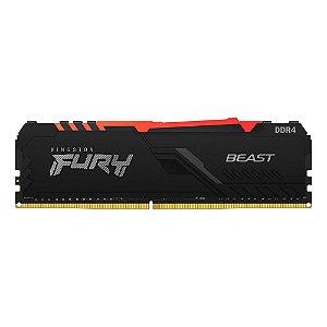 MEMÓRIA KINGSTON FURY BEAST, RGB, 8GB, 2666MHZ, DDR4, CL16, PRETO - KF426C16BBA/8