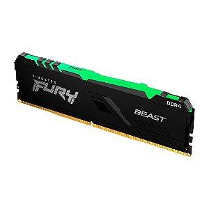 MEMÓRIA KINGSTON FURY BEAST, RGB, 8GB, 3000MHZ, DDR4, CL15, PRETO - KF430C15BBA/8
