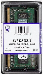 MEMÓRIA 4GB DDR3 1333MHZ KINGSTON - NOTEBOOK